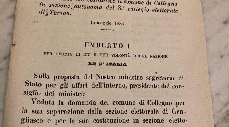 L'istituzione del collegio elettorale di Collegno